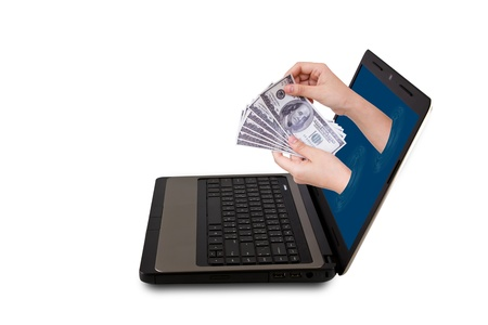 reaches: A Hand reaches out of an Laptop with a Dollar