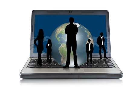 Laptop with silhouette people and earth photo