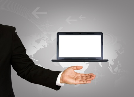 Hand holds the laptop Stock Photo - 10944800