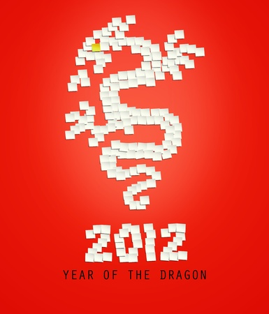 Sticky note stick shaped like dragon for Chinese year of the Dragon 2012 photo