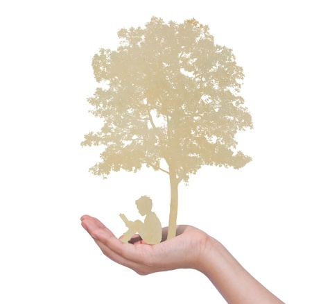 kid reading: Paper cut of children read a book under tree