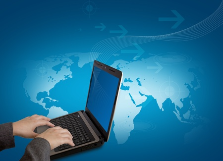Female hands writing on laptop photo