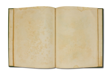 Blank open book isolated on white background photo