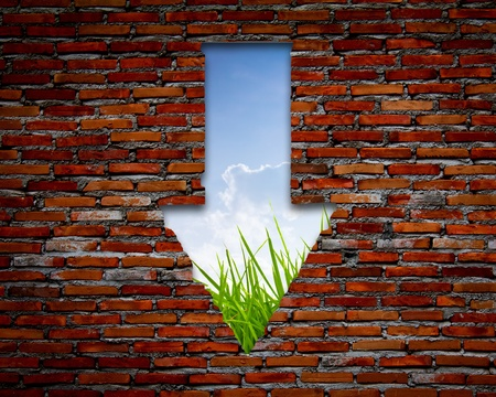 Brick wall with left arrow , grass and sky photo