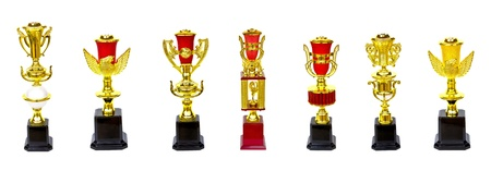 awards ceremony: collection of gold trophy isolated on white background Stock Photo