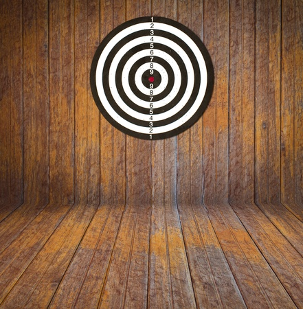 Dartboard on room wood photo