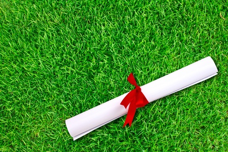 Diploma wrapped with a red ribbon on fresh spring green grass photo