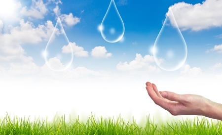 Eco concept : Hand hold water drop photo