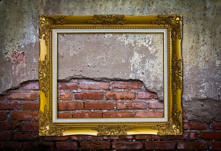 Frame or board on old brick wall photo