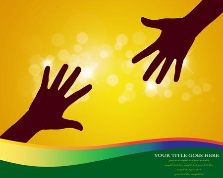 corazon en la mano: Las manos ayuda con el vector espacio de la copia.