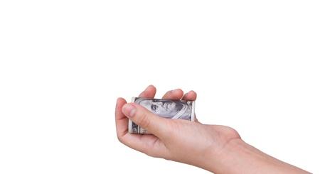Hands holding dollars isolated on white background Stock Photo - 11193302