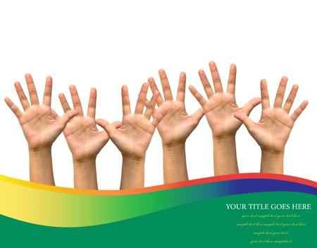 Foto di mani alzate isolato su sfondo bianco. Archivio Fotografico