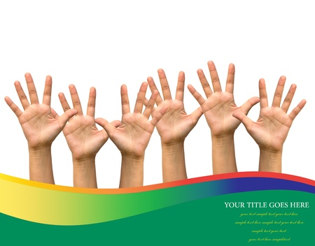 participation: Photo of raised hands isolated on white background.