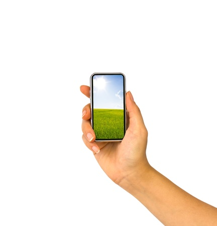 gprs: Mobile phone in hand Stock Photo