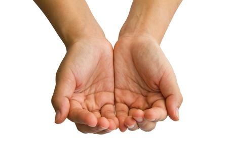 reaching hands: De open handen van een jonge vrouw