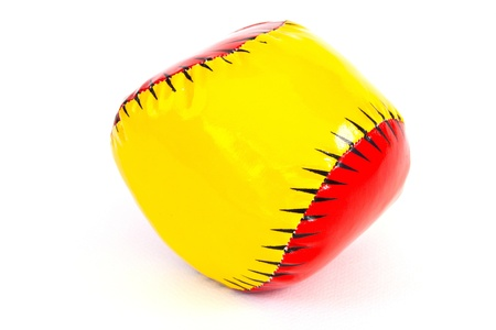 for children toys: Colourful (Red, Yellow) Toy Ball On White Background Stock Photo