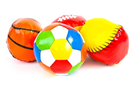 Colourful (Red, Blue, Green, Yellow) Toy Ball On White Background Stock Photo - 11113801