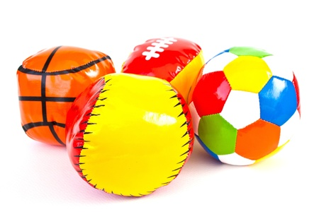 Colourful (Red, Blue, Green, Yellow) Toy Ball On White Background Stock Photo - 11113806
