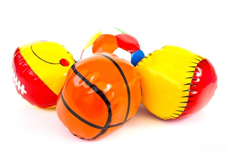 Colourful (Red, Blue, Green, Yellow) Toy Ball On White Background Stock Photo - 11113807