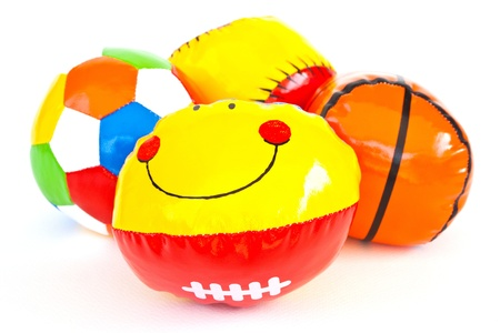 Colourful (Red, Blue, Green, Yellow) Toy Ball On White Background Stock Photo - 11113802