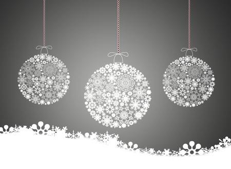 seasonal symbol: Feliz Navidad de fondo con bolas de Navidad. Foto de archivo
