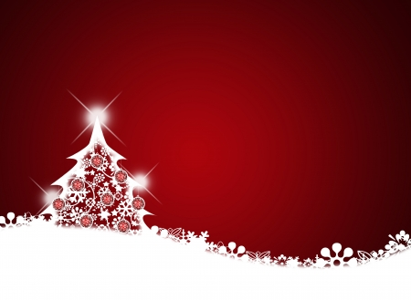 christmas fun: Christmas background for your designs in red with a Christmas Tree
