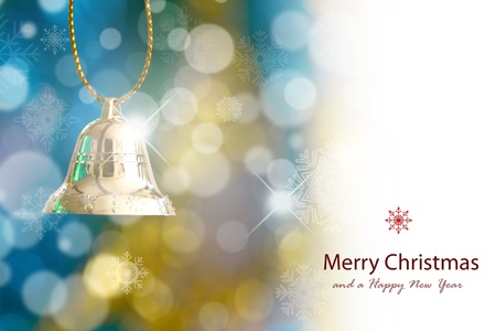 isolataion: Golden christmas bell Stock Photo