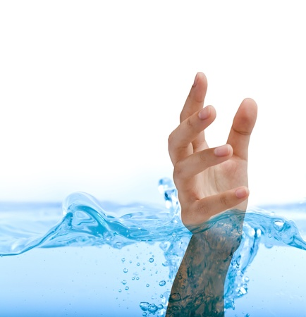 submerge: Hand in water isolated on white background Stock Photo