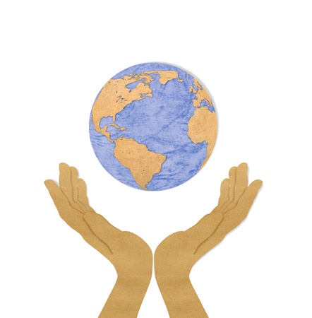 Eco concept : recycled paper cut of two hand hold earth Stock Photo - 11424746