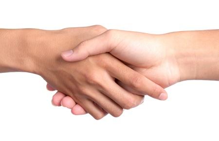 manos unidas: Primer imagen de estrechar la mano sobre fondo blanco