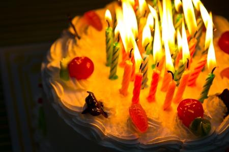 White Cream Cake with Fruits and Chocolate photo