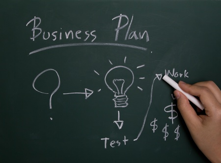 Hand writing business plan on chalkboard photo