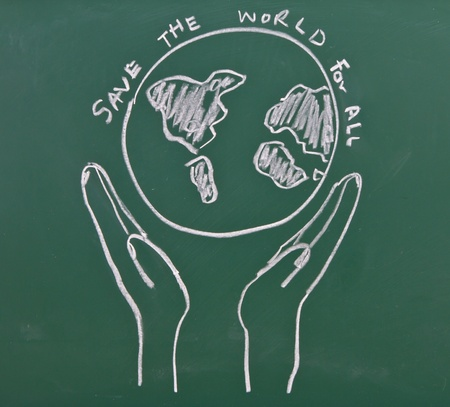 Drawing of hands hold earth on chalkboard photo