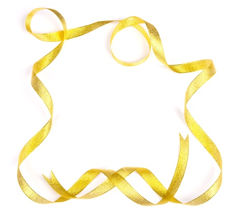Shiny gold satin ribbon frame on white background with copy space