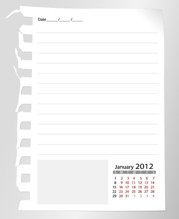 Simple 2012 calendar notebook ,January. All elements are layered separately in vector file. Easy editable. photo