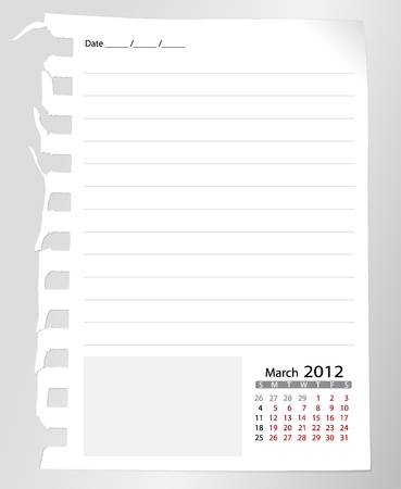 Simple 2012 calendar notebook, March. All elements are layered separately in vector file. Easy editable. photo