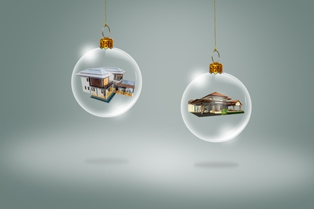 Transparent Christmas ball with house inside Stock Photo - 11747700