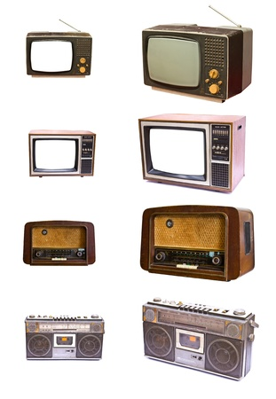 Vintage of radio and TV devices isolated on white background photo