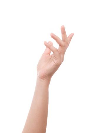 Vrouw hand op een witte achtergrond Stockfoto