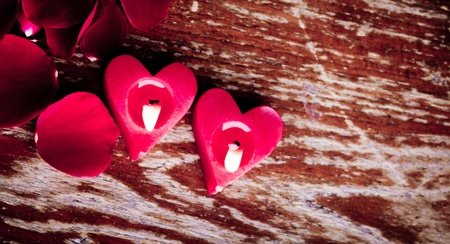 Valentines candles on rose petals background Stock Photo - 11993609