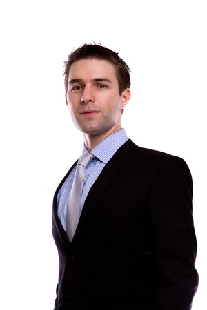 Portrait of handsome young business man against white background photo