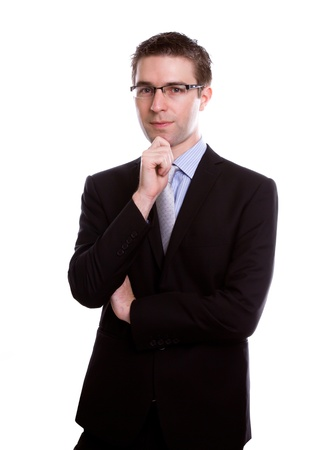Portrait of handsome young business man against white background Stock Photo - 12035362