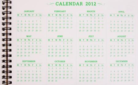 A 2012 calendar Stock Photo - 12035298