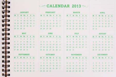 A 2013 calendar Stock Photo - 12035286