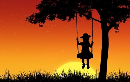 sad little girl: Silhouette of girl on swing Stock Photo