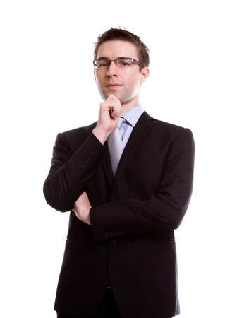 Portrait of handsome young business man against white background Stock Photo - 12343698
