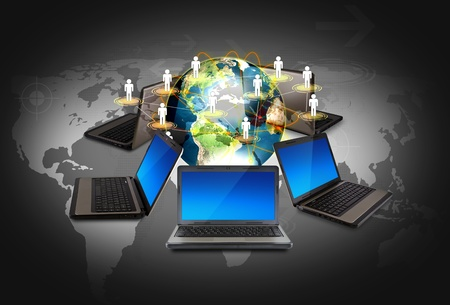 Social networking concept : Laptop with social network on world map Stock Photo - 12343772