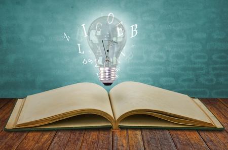 Buch und Glühbirne