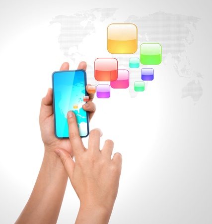 Mobile phone with colorful application icons Stock Photo - 12775273