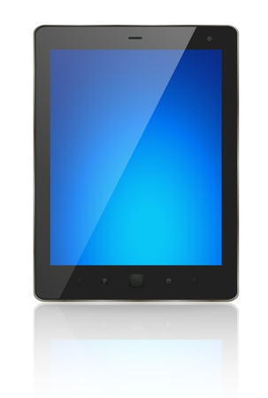 A modern tablet pc with blue screen photo